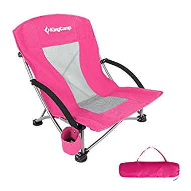 KingCamp Low Sling Beach Camping Folding Chair with Mesh Back (Red)