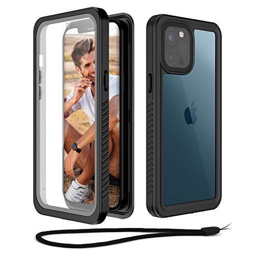 Beeasy Funda Antigolpes para iPhone 12 Pro MAX,IP68 Certificado Sumergible Carcasa,360 Grados Protección con Protector de Pantalla Incorporado,Militar Antichoque Estanca Impermeable,Negro + Gris