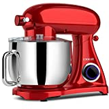 COOKLEE Stand Mixer, 800W 8.5-Qt. Kitchen Mixer 10+1 Speeds with Dishwasher-Safe Dough Hooks, Flat Beaters, Whisk & Pouring Shield, SM-1522NM, Monarch Red