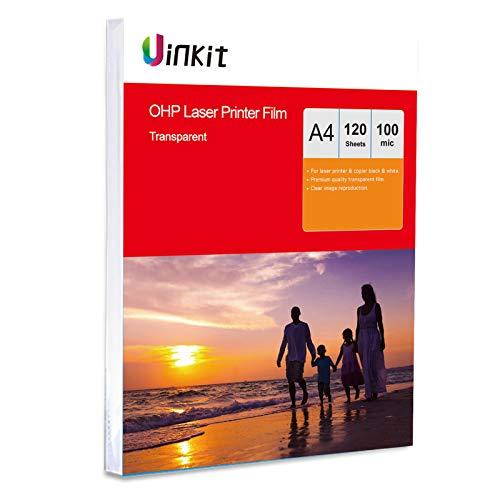 Lámina para retroproyector A4 y A3, para impresora láser y fotocopiadora. Lámina transparente de Uinkit A4 x 120 Sheets