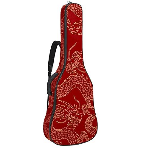 Funda para Guitarra Eléctrica Dragón chino rojo Bolsa Guitarra Acolchada 6mm Tela...