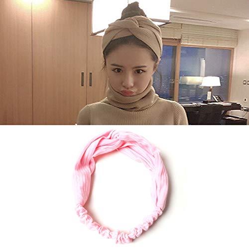No brand Chat Oreilles Hairband Pengjiawei 5 PCS Femmes Tempérament Knitting Cross Shape Band Cheveux (Color : Pink)