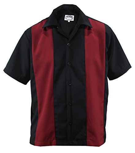 Bowling Shirt Worker Hemd Rockabilly Two Tone Gabardine Lounge 50er Vintage Retro Double Panel (XXL/XX-Large, Schwarz/Rot)