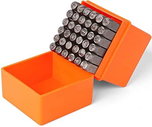 BRIMIX 36 pc Juego de sello de estampado 6 MM (A-Z & 0-9) para metal, cuero, madera, plástico, joyeria. Cincel y punzones de grabado de números y letras para manualidades y artesania