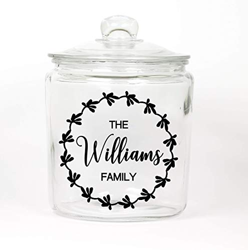 Personalized Last Name Glass Cookie Jar - Made in USA