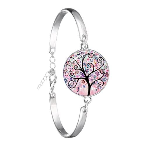 Life Tree Art - Pulsera hecha a mano con cúpula de cristal, cabujón, árbol de la vida, para mujeres y niñas