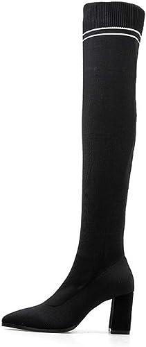 SHANGWU WOMEM Damen üBER DEN Stiefeln, Freizeitschuhe Hohe Stiefel Block Blockabsatz Flache Stiefel mit flachem Absatz Elastische Lange Stiefel