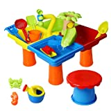 Loyaa Beach Toys, Sand Toys Set Toddler Toys Sensory Table Toy with Cover-Water Table Water Sand Table Sand Molds Beach Tool Kit, Outdoor Beach Sand Toys for 1-3 Years Old Boys and Girls (Colorful)