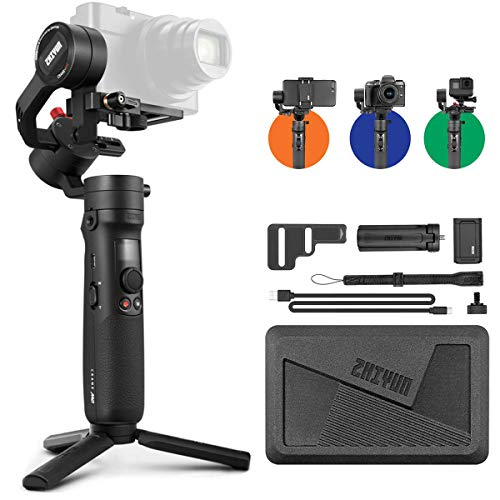 Zhiyun Crane M2 Crane-M2 Gimbal [Official Dealer], 3 Axis Handheld Gimbal for Mirrorless Cameras Smartphone Action Cameras for Sony A6000 A6300 A6400 A6500 Canon M6 G7 X Mark II, for GoPro Hero 7 6 5