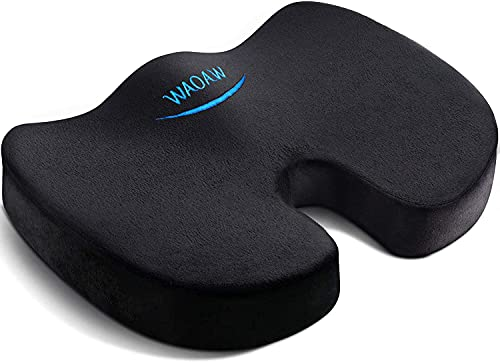 WAOAW Seat Cushion, Office Chair Cushions for Desk Chairs, Sciatica Car Seat Cushion for Back Coccyx Tailbone Pain Relief, No-Slip Dual-Linings Protects
