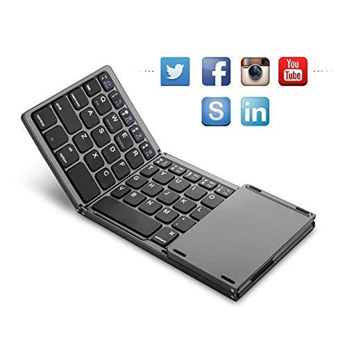 LYHLYH Pocket Size Faltbare Bluetooth-Tastatur, tragbare USB aufladbare Mini-Tastatur mit Touchpad für Mobiltelefone und Tablets DREI-System Universal-Bluetooth-Tastatur