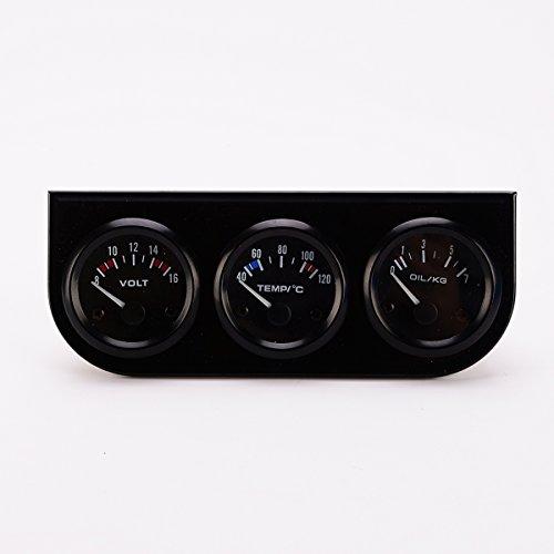 WINOMO Öl-Temp Messgerät Wasser Temp Messgerät Öl Manometer Temperaturfühler 3 in 1 Auto Meter