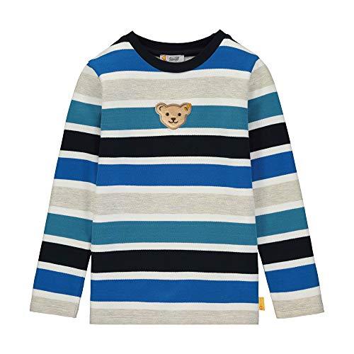 Steiff Jungen mit Streifen und Teddybärmotiv Sweatshirt, Blau (Black Iris 3032), 92 (Herstellergröße: 092)