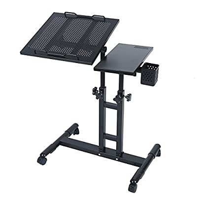redScorpion Adjustable Height Rolling Mobile Laptop Desk Table Computer Desk Cart Over Sofa Bed Table(Black)