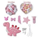 Mmnas Dentición de bebé, cuentas de silicona para mordedor de dinosaurio, clip para chupete de plumas, joyería de bricolaje para enfermería, dentición (rosa)