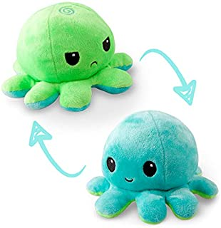 TeeTurtle   The Original Reversible Octopus Plushie   Patented Design   Green and Aqua   Happy + Angry   Show your mood wi...