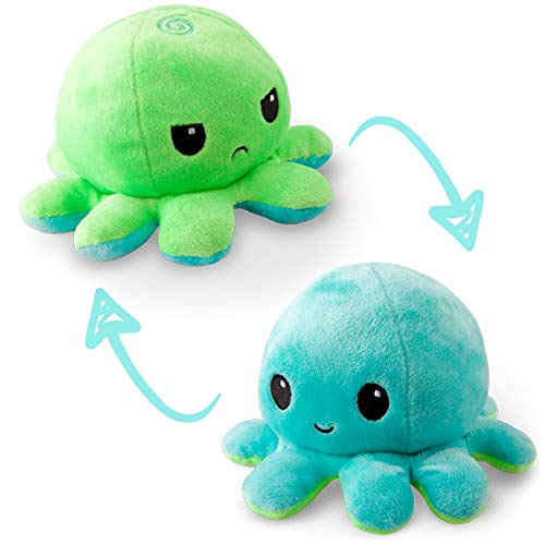 TeeTurtle   The Original Reversible Octopus Plushie   Patented Design   Sensory Fidget Toy for Stress Relief   Green and Aqua   Happy + Angry   Show your mood without saying a word!