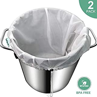 Bellamei Brew Bags Reusable 2 Pack 250 Micron Fine Mesh Bag for Fruit Cider Apple Grape Wine Press Drawstring Straining Brew in a Bag
