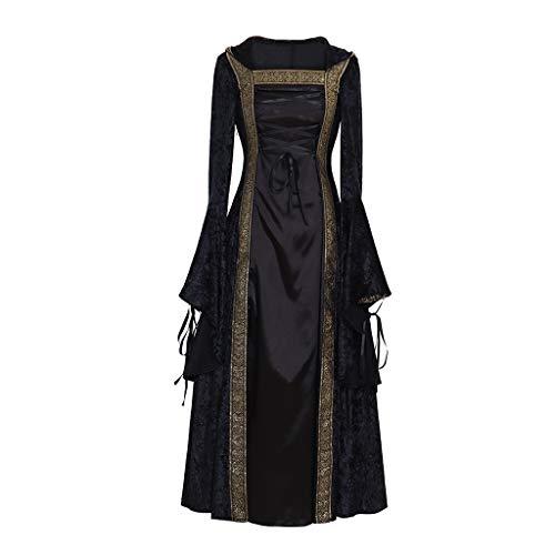 CosplayDiy Women's Medieval Renaissance Retro Gown Cosplay Costume Dress XS Black