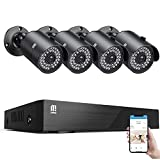 【5MP Cameras】 MTM Home Security Camera System Outdoor, 8 Channel H.265+ Surveillance DVR and 4 x IP66 Waterproof Wired Home CCTV Cameras, 100ft Night Vision, Motion Alert, Remote Access