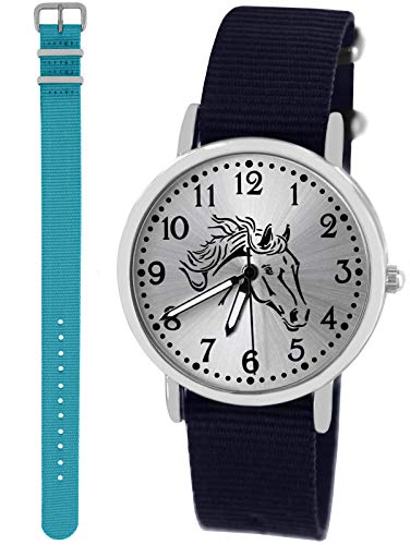 Pacific Time Mädchen Uhr Analog Quarz mit 2 Textilarmband 10417 blau hellblau