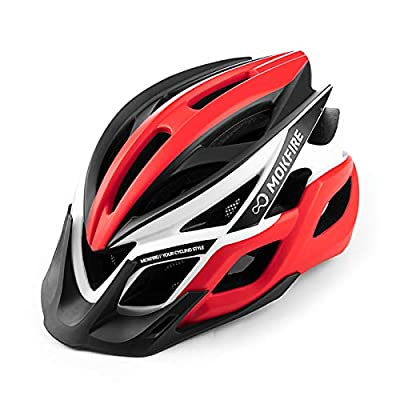MOKFIRE Bike Helmets with Rechargeable USB Light, Bicycle Helmet CPSC Certified for Adult Men Women, Road Cycling & Mountain Biking Helmet with Removable Visor and Lining, 22.05-24.41 Inches (Red)