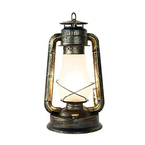 KAYBELE Sala de Estar E27 Lámpara de Escritorio, lámpara de Noche de Metal de Dormitorio con Pantalla de Cristal, lámpara de Mesa Industrial Vintage, para Estudio de Oficina y Restaurante, 40 cm
