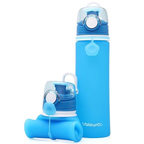 ValourGo Botella de Agua Plegable con Válvula a Prueba de Fugas – Cantimplora Reutilizable y Flexible – Botella de Agua de Silicona Sin BPA para Deportes Viajes Camping Bicicleta 600ml (Azul)