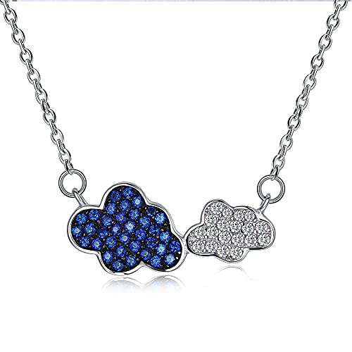 TTbaoz Collar Collares con Colgante De Nubes De Moda De Plata De Ley 925 para Mujer, Collar De La Suerte De Circón Cúbico Azul, Joyería