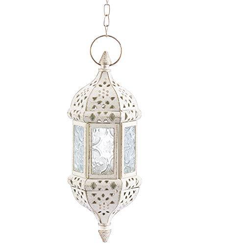 Nuptio Marokkanische Laterne Metallarbeiten Hängen Teelichthalter Metall & Glas Indoor Outdoor Batteriebetriebene LED Flammenlos Mit 35cm Kette, Weiß
