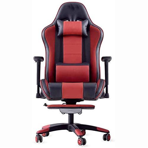 Wohngeräte Computerspielstühle Videospielstühle Home-Office-Schreibtischstühle mit Fußstütze Liegender Home-Office-Stuhl PU-Lederspielstuhl mit hoher Rückenlehne Computerstuhl mit Kopfstütze und Lo