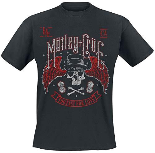 Mötley Crüe Biker Skull Hombre Camiseta Negro, Regular