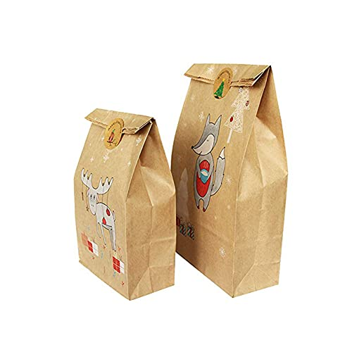 Nicejoy Kraft Paper Candy Bag Gift Packaging Bags Treat Candy Bag Carrier.with Sticker Party Favor Candy Holder for Holiday Wedding.