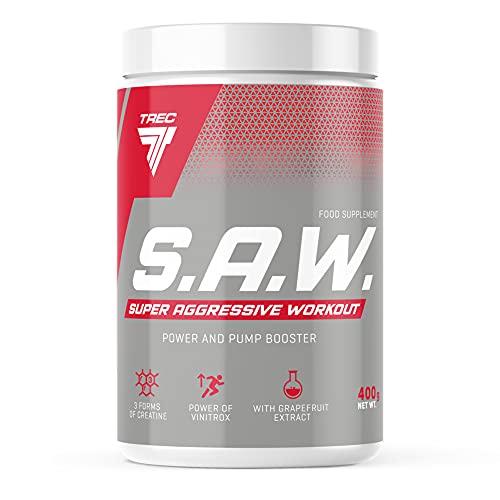 Trec Nutrition S.A.W, Fórmula Pre-Entrenamiento, Sabor Cereza-Pomelo - 400 gr