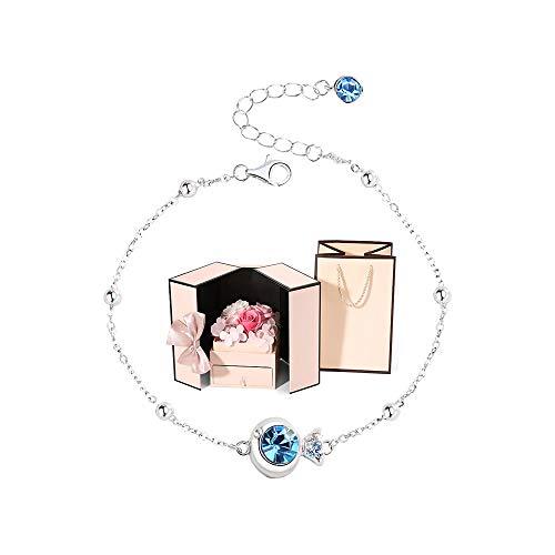 Pulsera Mujer Plata de ley 925 Diamante Azul Pez Cristal Pulsera Pulsera de personalidad simple Joyería de novia para amigos, esposa, madre, hermana (Size : Bracelet+luxury gift box)