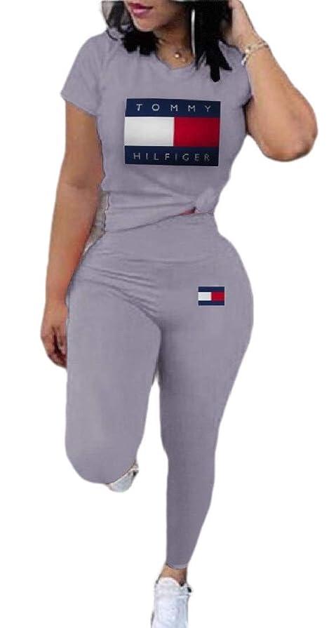 広範囲記者小屋Women's Top Sweatsuits Long Pants Short Sleeve Tracksuit Two Piece Outfits