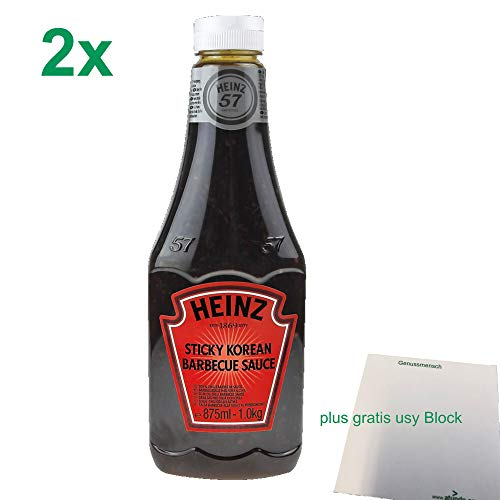 Heinz Sticky Korean Barbecue Sauce 2er Pack (2x875 ml Flasche) plus usy Block