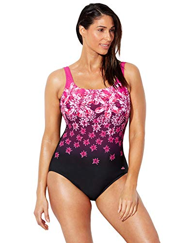 Swimsuits For All Women's Plus Size Chlorine Resistant Floral One Piece Swimsuit 20 Pink