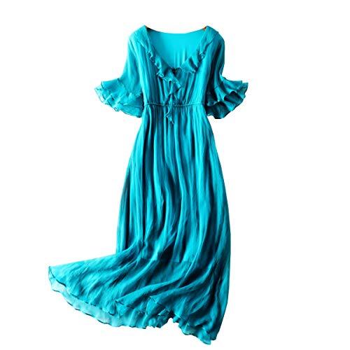DISSA SB98005 - Vestido de playa de manga corta para mujer, azul, 42