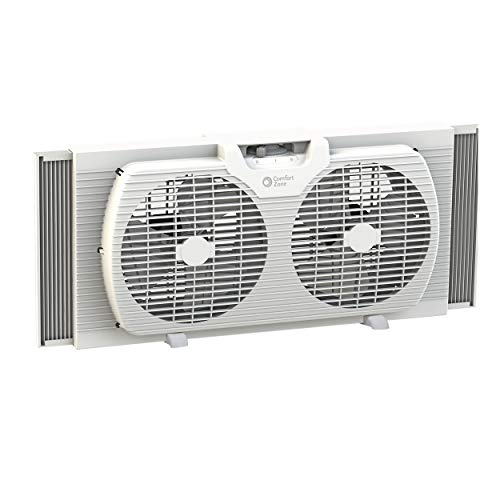 Comfort Zone CZ319WT 9-inch Twin Window Fan with Manual Reversible Airflow Control, Auto-Locking...