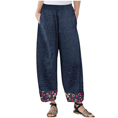 For Sale! 2020 New Womens Plus Size Cotton Fitness Sports Trousers High Waist Wide Leg Thread Workout Pants (Blue, XL)