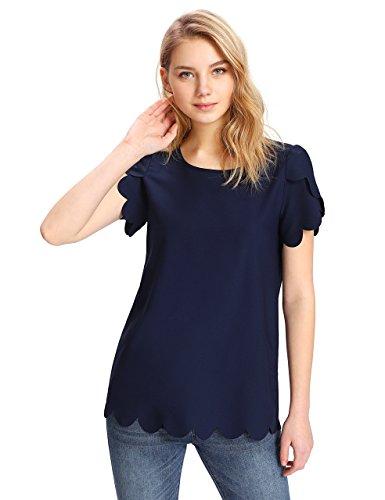 Floerns Women's Solid Scallop Hem Round Neck Short Sleeve Blouse Tops Navy B XS