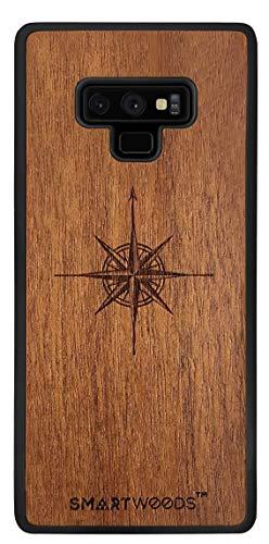SmartWoods Schutzhülle für Samsung Galaxy Note 9 Schutzhülle Holz für Smartphone, Schutzhülle Holz für Telefon, Schutzhülle Samsung aus Holz, ökologisches und natürliches, Original (Windrose)