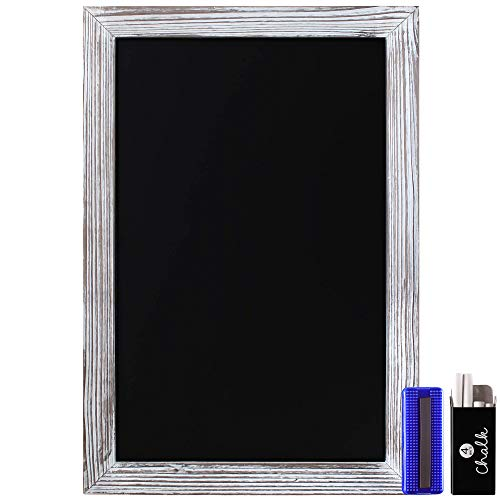 """HBCY Creations Rustic Whitewashed Magnetic Wall Chalkboard, Extra Large Size 20"""" x 30"""", Framed Decorative Chalkboard - Great for Kitchen Decor, Weddings, Restaurant Menus and More! … (20"""" x 30"""")…"""