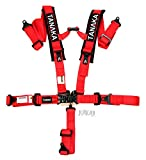 Tanaka Black Series Latch and Link Safety Harness Set with Ultra Comfort Heavy Duty Shoulder Pads (for one seat) (Black) (2' Red)
