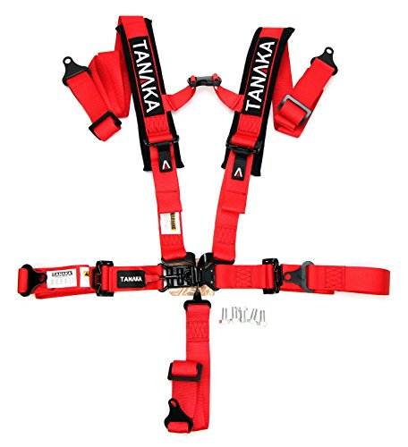 """Tanaka Black Series Latch and Link Safety Harness Set with Ultra Comfort Heavy Duty Shoulder Pads (for one seat) (Black) (2"""" Red)"""