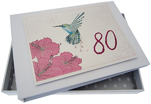 White Cotton Cards Mini Olibri Fotoalbum voor 80e verjaardag, handgemaakt, wit