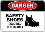 239 Grande cartello in alluminio per la sicurezza di pericolo scarpe richieste in questa zona, segno di pericolo per esterni e interni, decorazione da parete, 30,5 x 20,5 cm