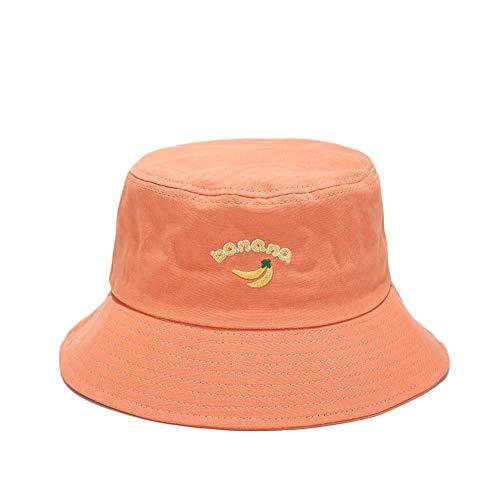 Fablcrew Chapeau Bob Pecheur en Motif de Broderie Banane Chapeau de Soleil Pliable Anti-UV Protection Été pour Femmes Homme Plage Loisir Voyage