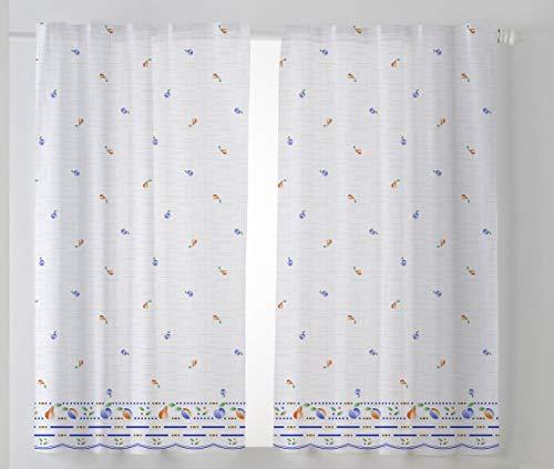 Cardenal Textil Mara Cortina Cocina Visillo, Tela, Azul, Pack 2 100 x 140 cm